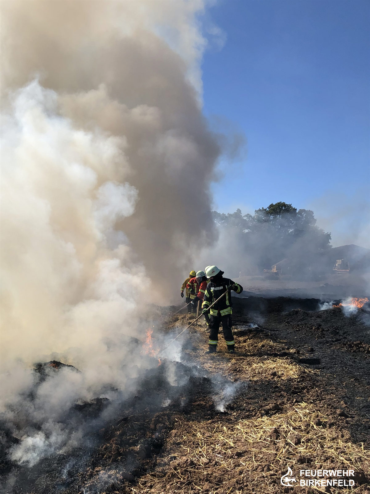 Simulation eines Flächenbrandes auf einem abgeernteten Feld